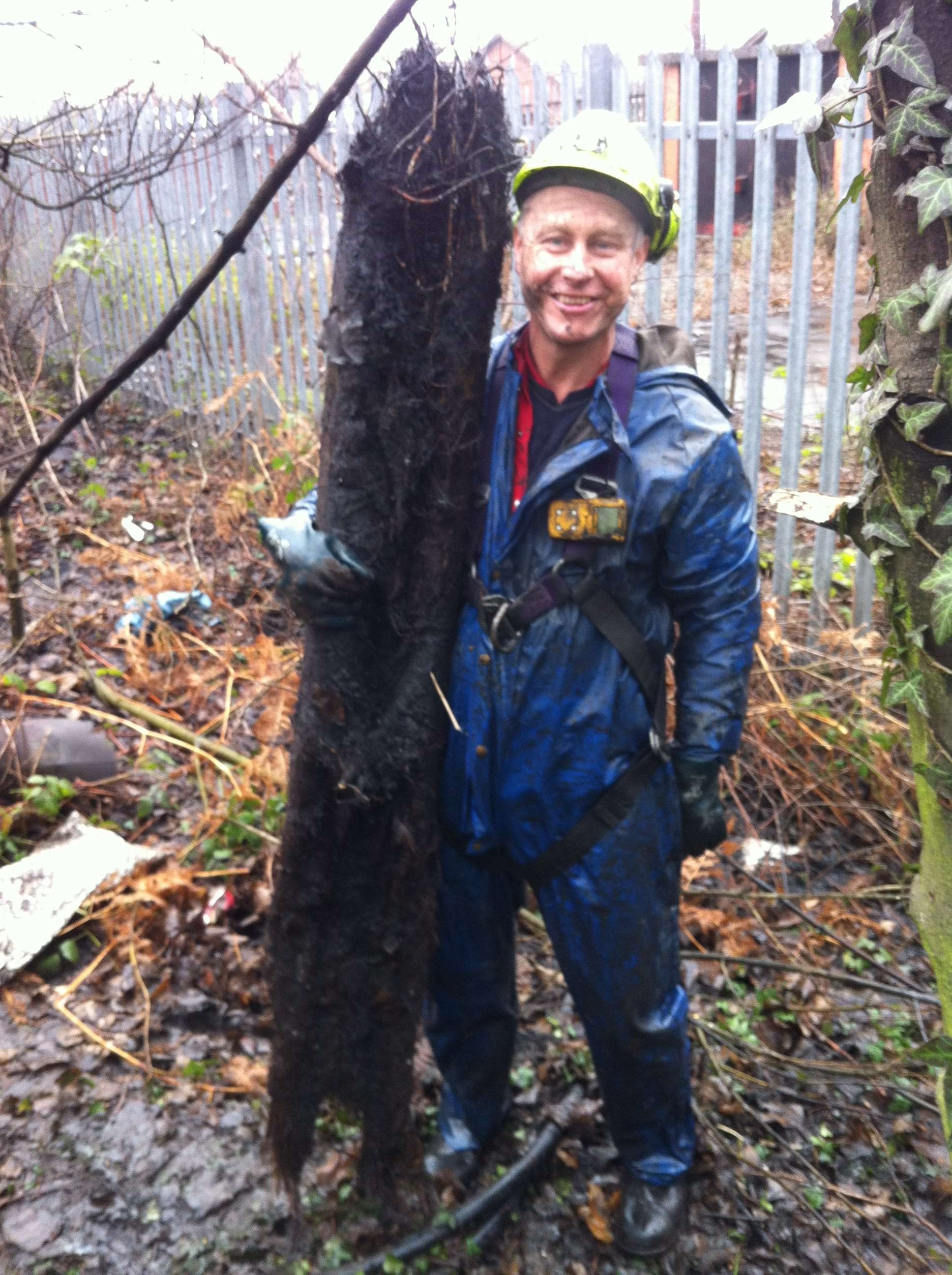 Gary with a very large root that was causing a waste blockage